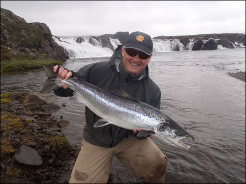 The first salmon of the season in Breiðdalsá river on the opening day 1. July 2012